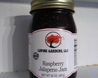 Raspberry Jalapeno fruit preserves. 20 oz.