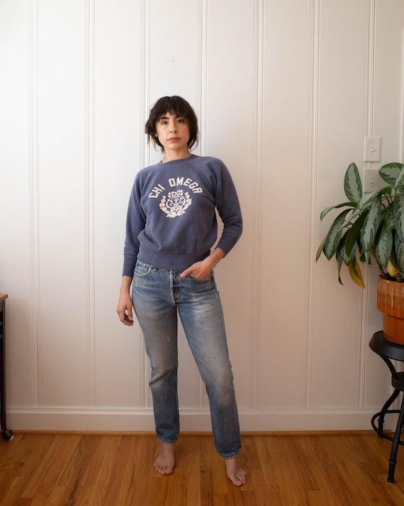 1950s Chi Omega Blue Pullover Sweatshirt I Vintage