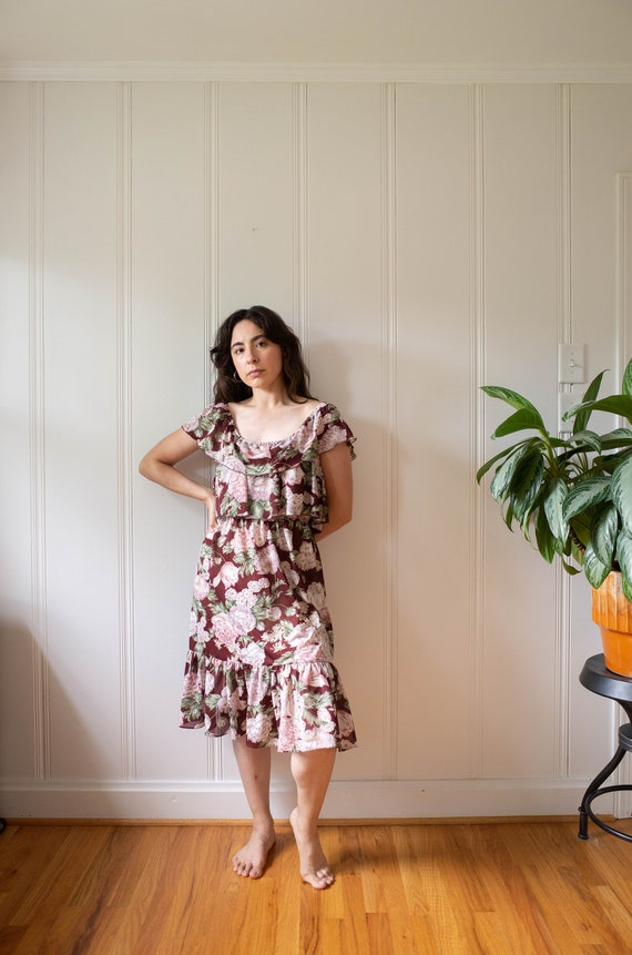 70s Burgundy Floral Print Off the Shoulder Ruffle