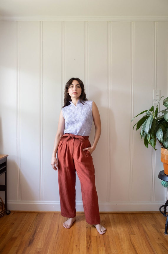Silk Anne Klein Wide Leg High Waist Tailored Trous
