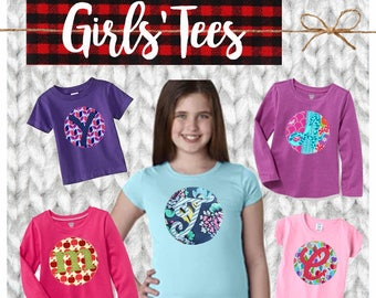 Short Sleeve Girl CYBER MONDAY 2017 SALE!  Applique Initial or Number Short Sleeve Tee, Shirt, Top, TShirt, Custom, Personalized, Initial