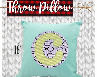 CYBER MONDAY 2017 SALE!  Applique Throw Pillow Case, Decorative Pillow Cover, Toss Pillow, Home Decor, Couch, Custom, Personalized, Initial