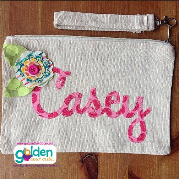 Personalized Canvas Name Wristlet with Flower, Pencil Pouch, Clutch