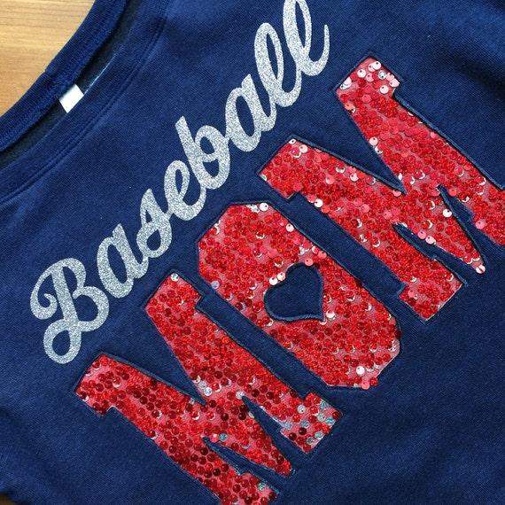 Personalized Team Mom Fleece Long Sleeve Top, Baseball, Basketball, Football, Hockey, Band, Softball, Cheer, PTA Mom Jersey, Sequin