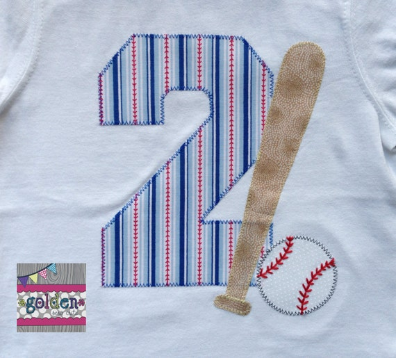 Baseball Bat and Ball Sports Birthday Tee with Name and Age