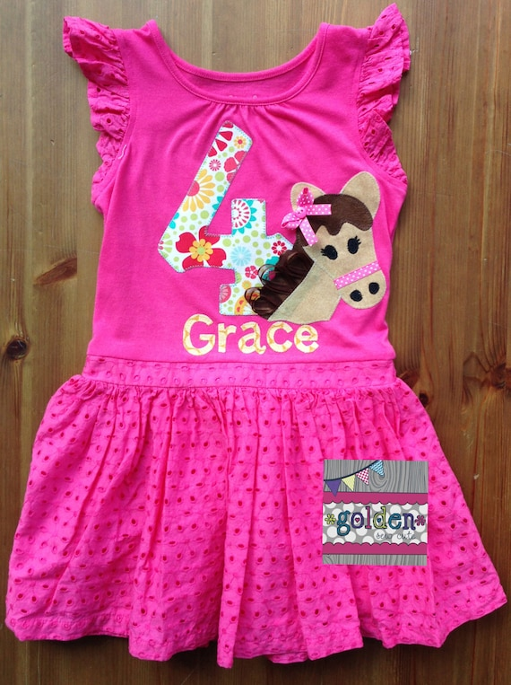 Horse or Pony Birthday Tee or Dress with Name and Number, Age