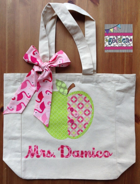 Personalized Name and Apple Teacher Tote Bag with Fabric Bow, Flamingo Pink