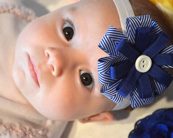 Blue and White Stacked Bow, Ribbon Loop Bow, Blue and White Baby Headband, Sailor Bow,  Infant Headband, Baby Hair Accessories