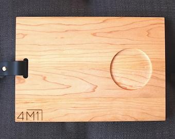 Tasting tray, service board, leather wood board, minimalist wood tray, minimalist wood platter