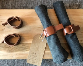 4 rounds of leather towels, minimalist towel ring, black leather, minimalist ring napkin, napkin ring holders,