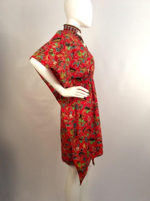 Red printed kimono dress, mandarin colored red dr… - image 3