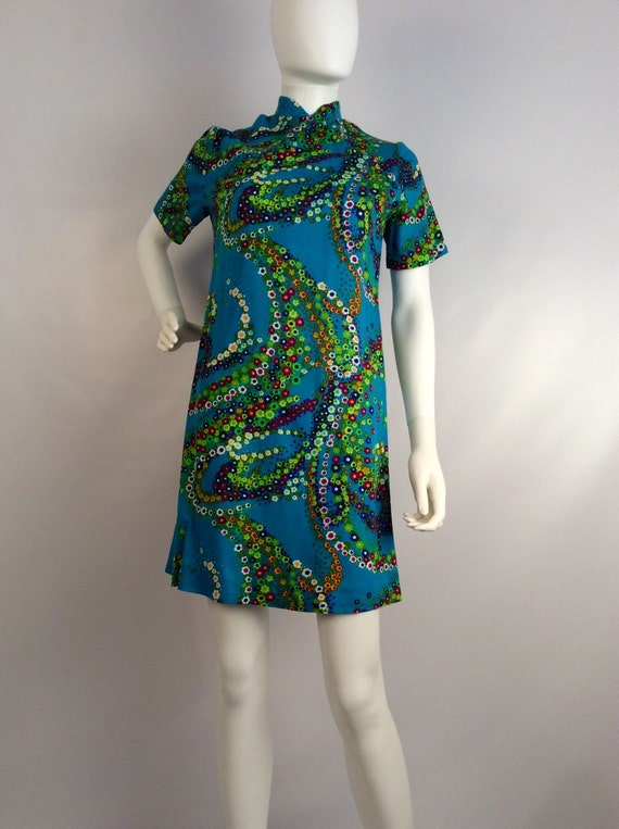 Vintage Asian inspried 70's dress, turquoise flora