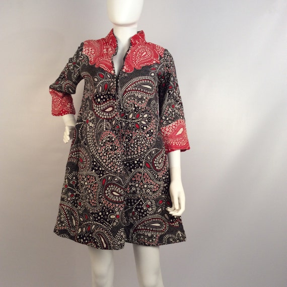 Vintage dress, quilted dress, red and blue paisley