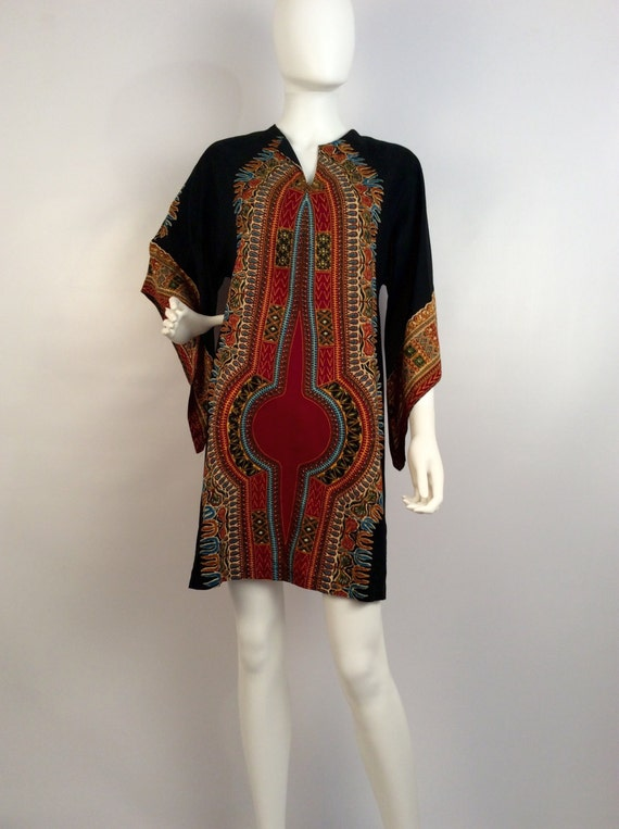 Vintage dress, black brown kimono, african inspire