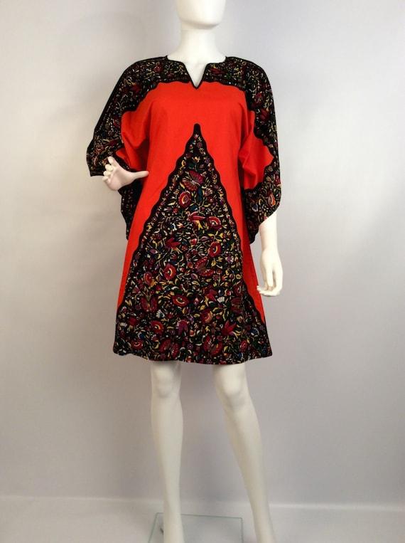 Vintage dress, orange black kimono dress, 80's dre