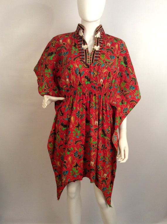 Red printed kimono dress, mandarin colored red dr… - image 1