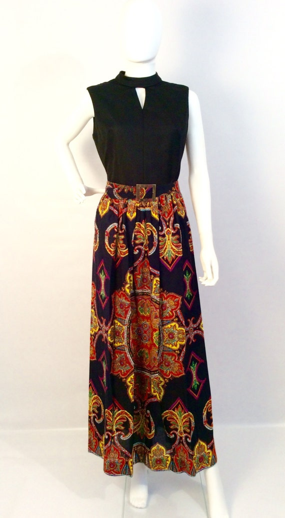 Vintage dress, vintage 60's 70's maxi dress, boho