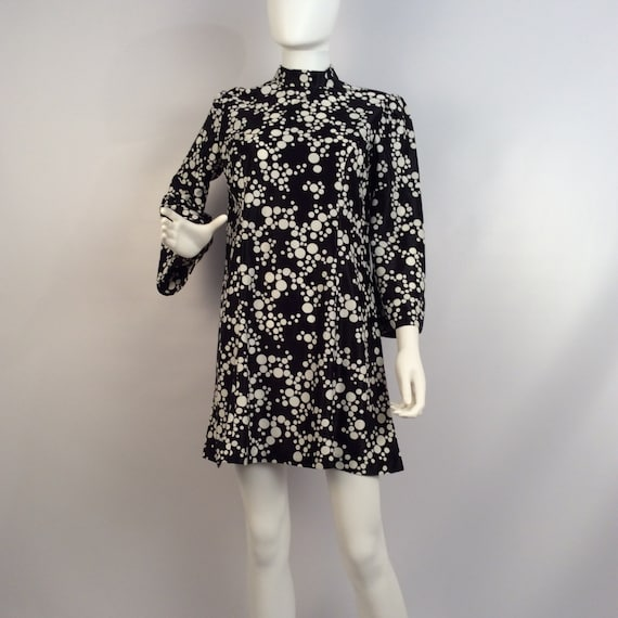 Vintage dress, 60's black and white polka dot dres