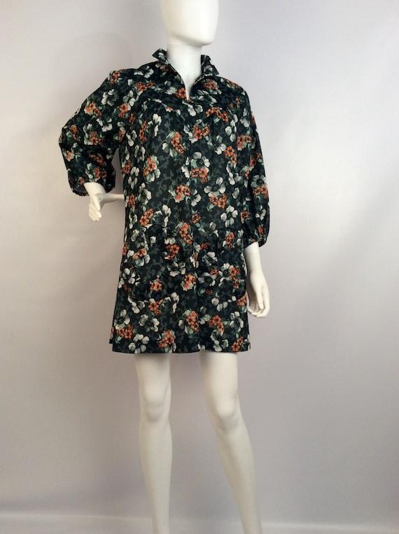 Vintage dress, black floral dress, 70's dress, bla