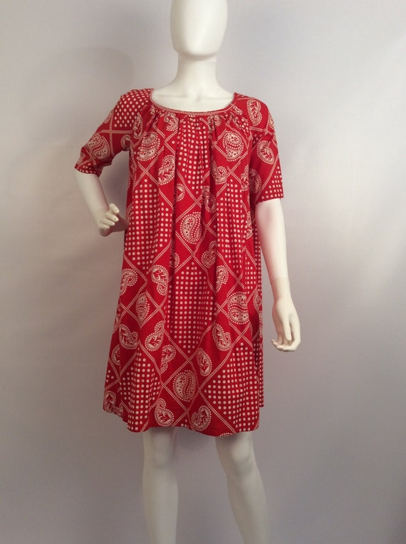 Vintage red paisley dress, red polka dot paisley d