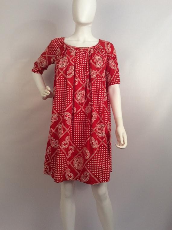 Vintage red paisley dress, red polka dot paisley d