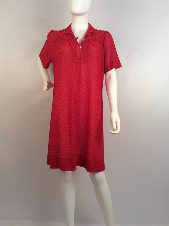 Vintage red polka dot dress, sheer red polka dot d