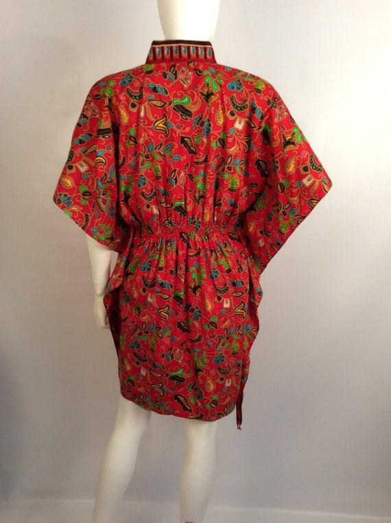 Red printed kimono dress, mandarin colored red dr… - image 2