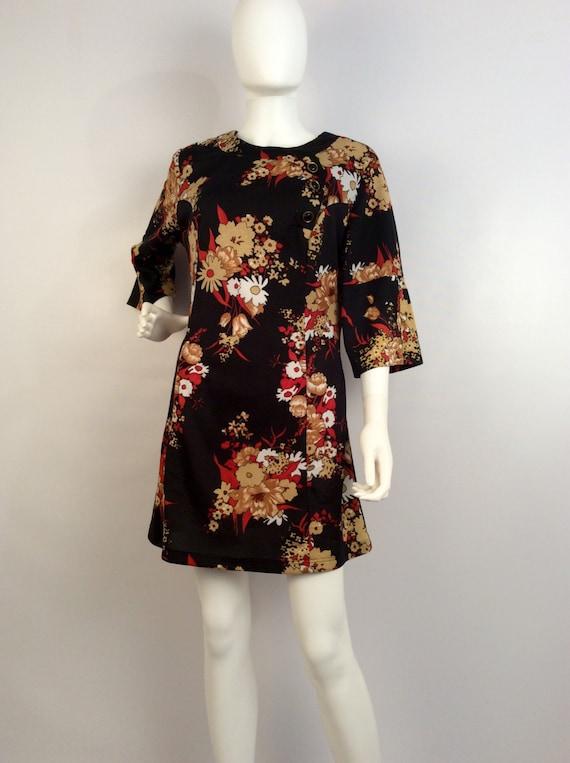 Vintage dress, 60's black floral dress, mod floral