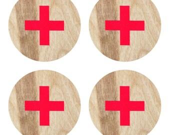 Ski Patrol Coasters | Wood Coasters | Drink Coasters | Coasters | Home Decor | Beverage Coasters | Ski Patrol | Ski | Made in Maine