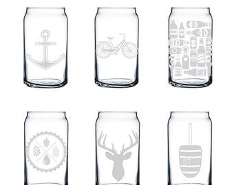 Etched Can Glasses (Set of 4) | Beer Can | Beer Can Glass | Can Glass | Glassware | Drinking Glasses | Etched Glass | Made in Maine
