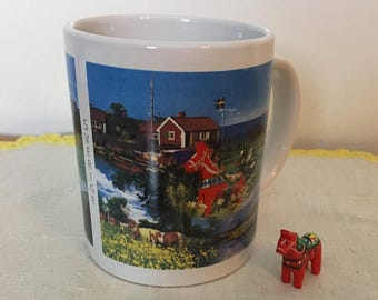 Souvenir Swedish Mug with Dala Horse
