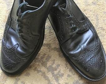 f85028582b Men s Leather Wing Tip Nunn Bush Black Dress Shoes