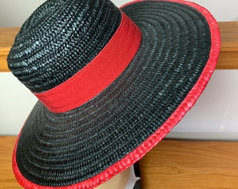de1087a0545ae3 Vintage Andrea Black and Red Wide Brim Straw Hat, Made in Italy