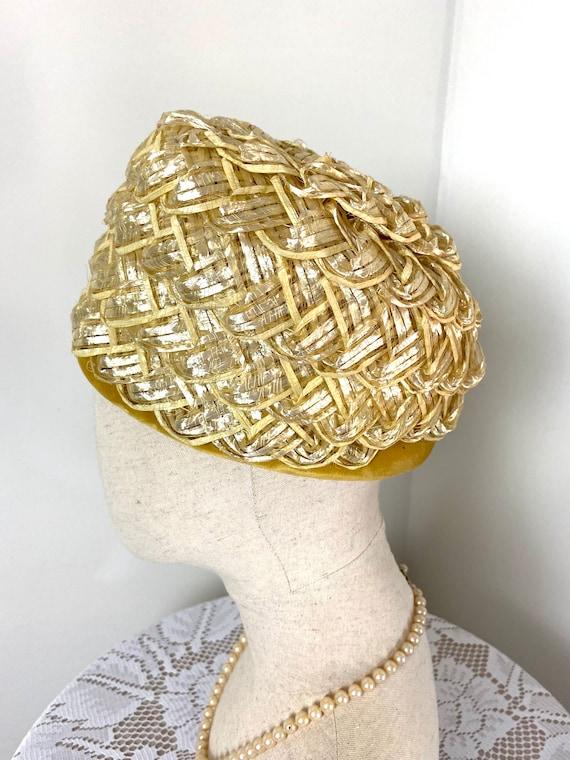 Vintage Women's Summer Straw Beehive Hat, 1950s - image 5
