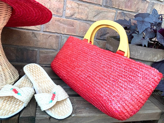 Summer Straw Hat, Purse, and Rice Straw Sandals S… - image 5