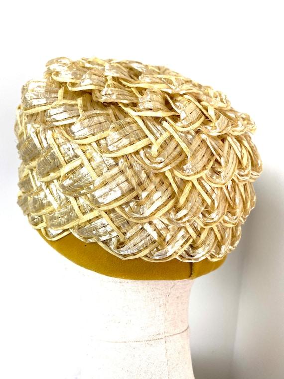 Vintage Women's Summer Straw Beehive Hat, 1950s - image 8