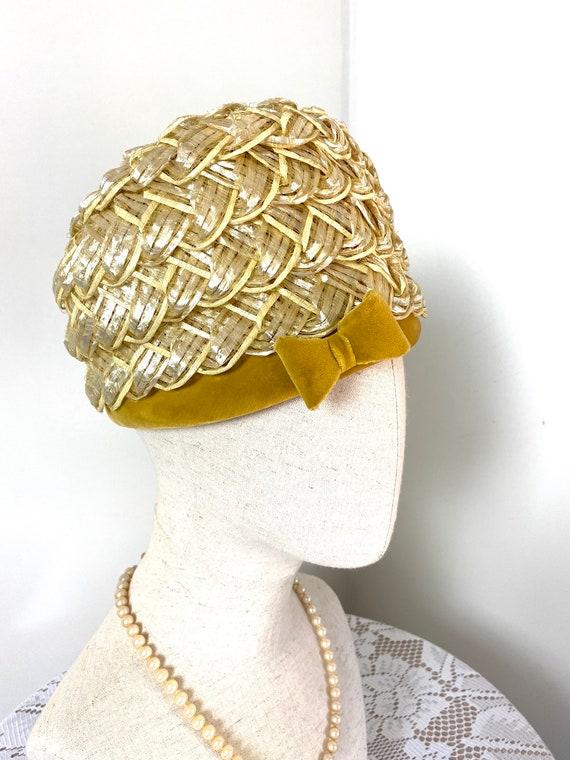 Vintage Women's Summer Straw Beehive Hat, 1950s - image 2