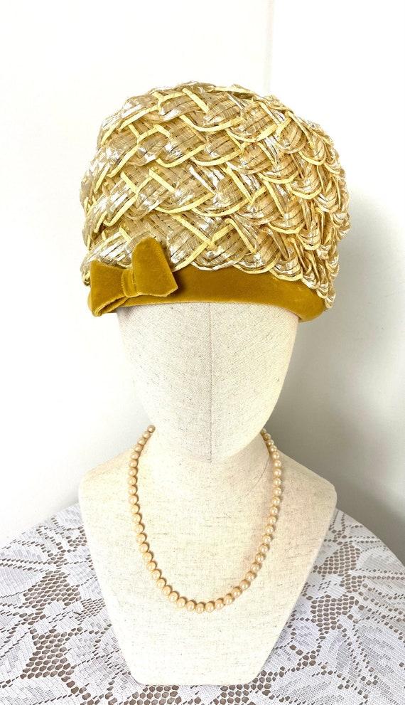 Vintage Women's Summer Straw Beehive Hat, 1950s - image 1
