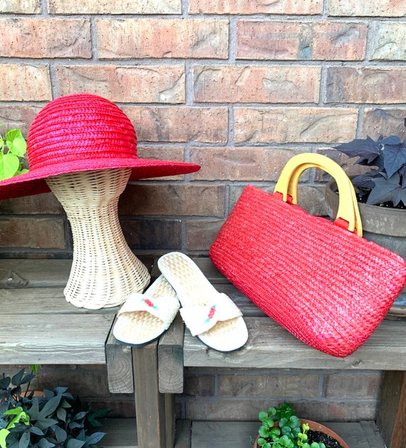 Summer Straw Hat, Purse, and Rice Straw Sandals S… - image 2