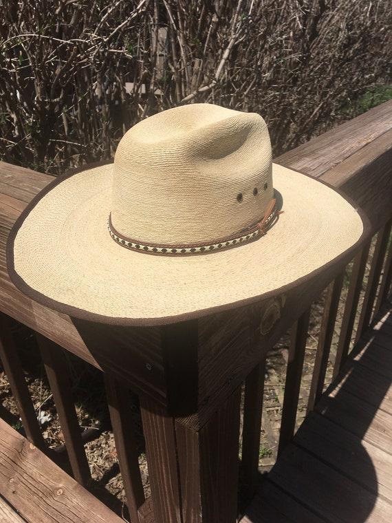 Men s Palm Leaf Western Style Cowboy Hat Size 7 1 4  1cef69294cd