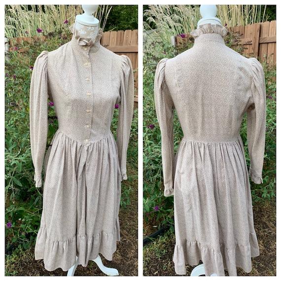 Vintage Calico Prairie Dress, Hand Tailored