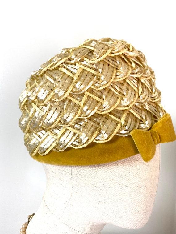 Vintage Women's Summer Straw Beehive Hat, 1950s - image 4