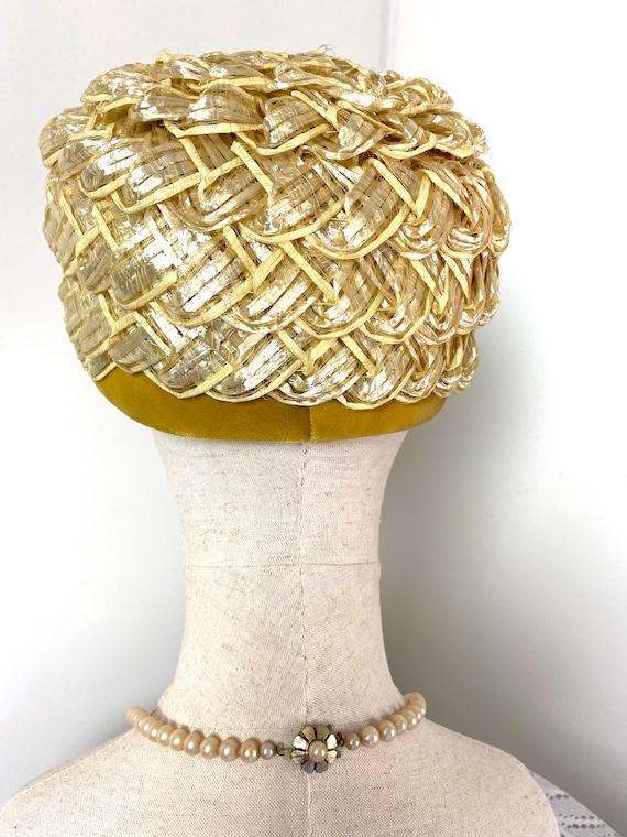 Vintage Women's Summer Straw Beehive Hat, 1950s - image 7