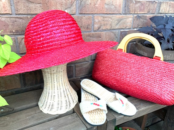Summer Straw Hat, Purse, and Rice Straw Sandals S… - image 1