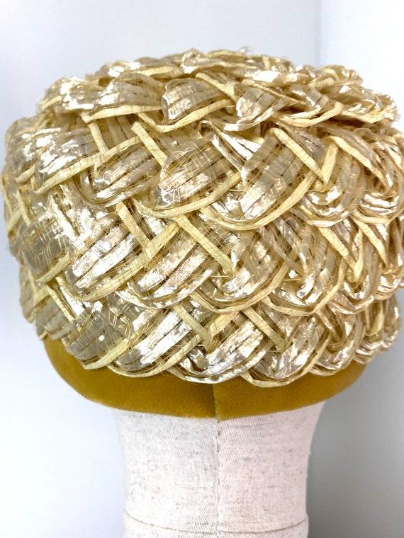 Vintage Women's Summer Straw Beehive Hat, 1950s - image 3