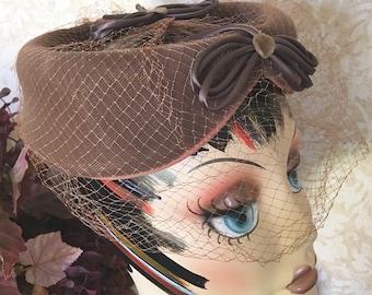 Vintage Brown Velvet Circlet Hat with Netting, 1950s