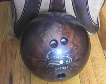Vintage Columbia White Dot 300 Bowling Ball and Brunswick Windjammer Bag, Made in USA