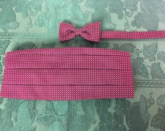 Vintage Cranberry/Dark Red Cummerbund and Matching Bow Tie, 1980s