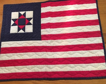 """Vintage Hand Quilted Ohio Star Flag, 24"""" x 19"""""""