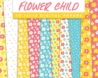 Flower Child Collection Digital Papers // Retro Happy Floral Stickers Paper Pack Seamless Pattern Graphic Illustration Clipart